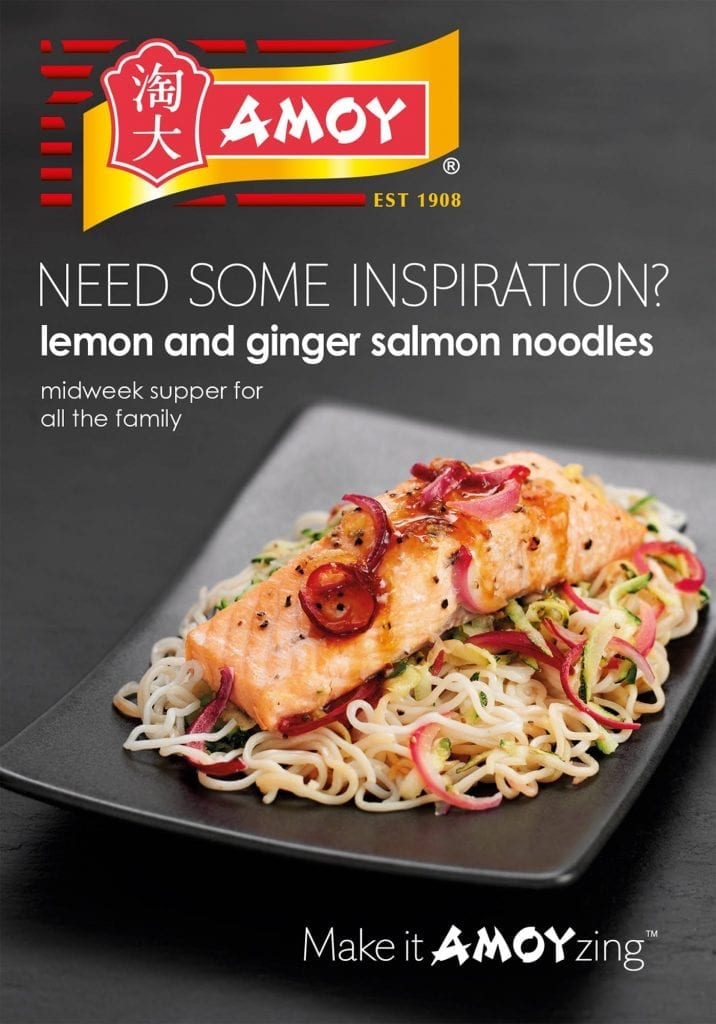 Lemon and ginger salmon noodles