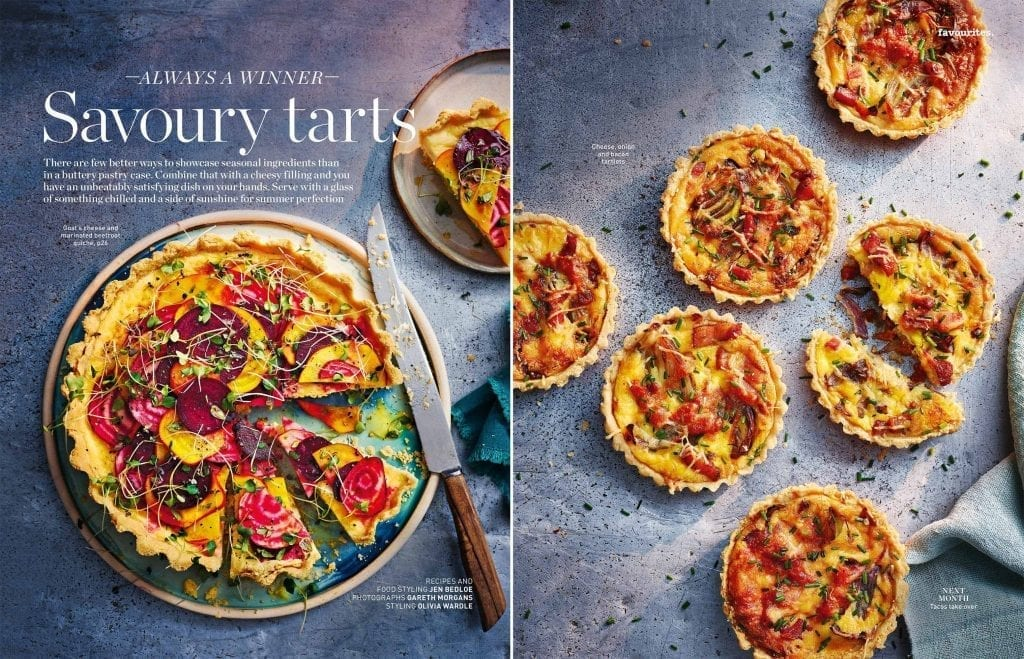Goats cheese & marinated beetroot quiche editorial shot for Delicious Magazine July 2019