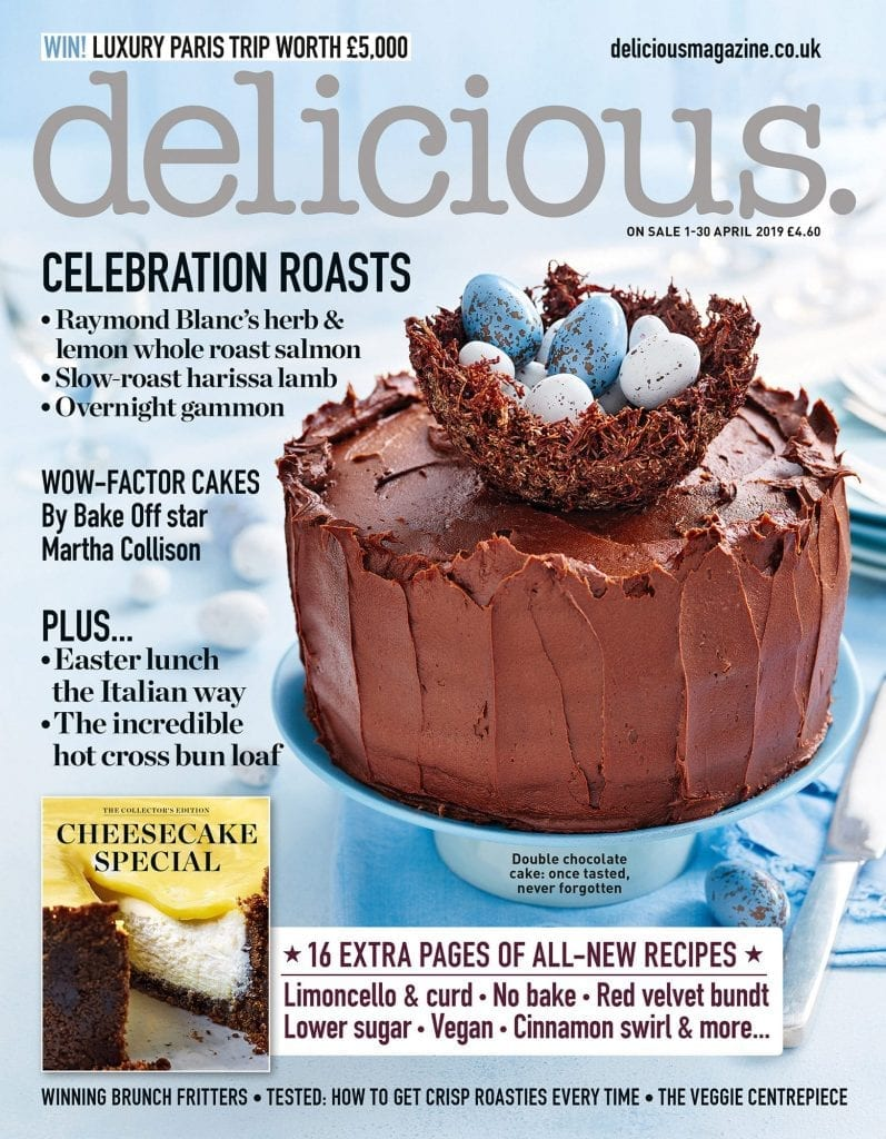 Front cover of Delicious Magazine April 2019. Easter Triple Chocolate cake with nest and mini eggs.