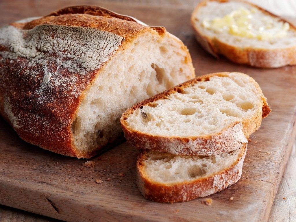 Cut loaf of bread