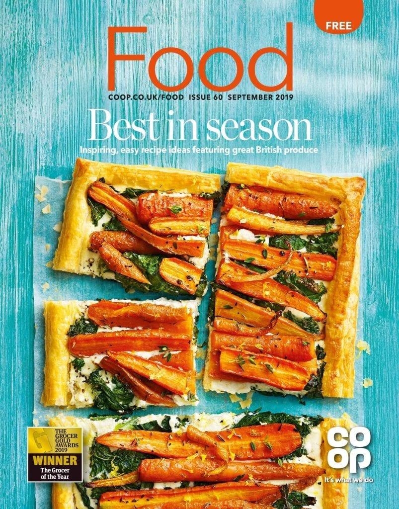 Carrot filo tart Kale overhead cut slices