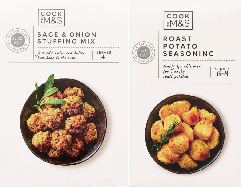 marks and spencers cook with range packaging stuffing mix seasoning