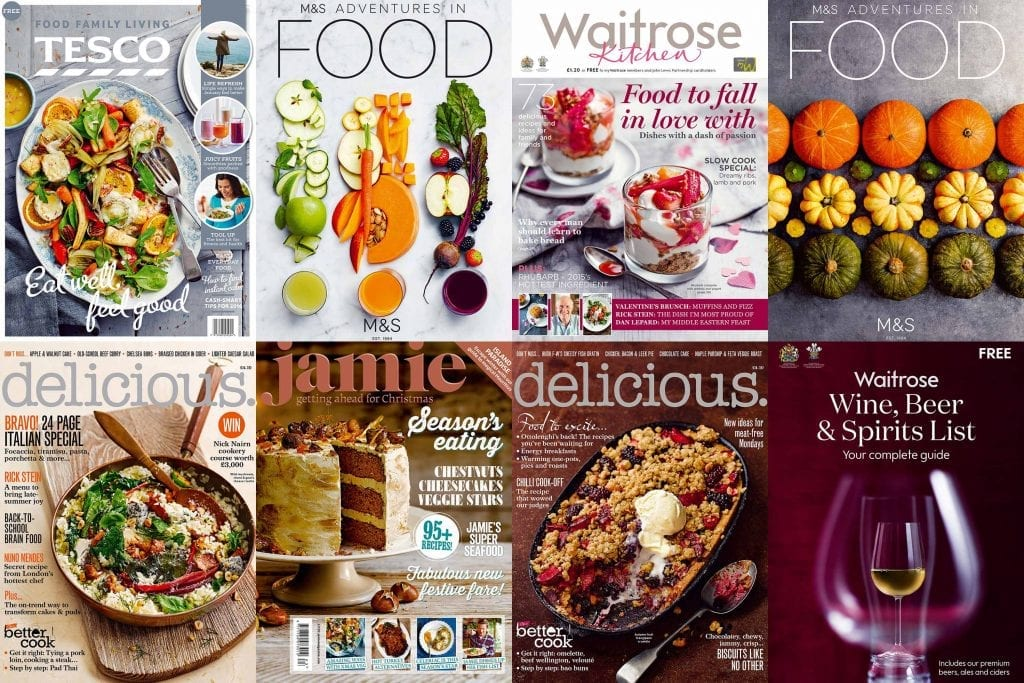 Collage of covers for Tesco, Marks and Spencer, Delicious and Jamie Magazine