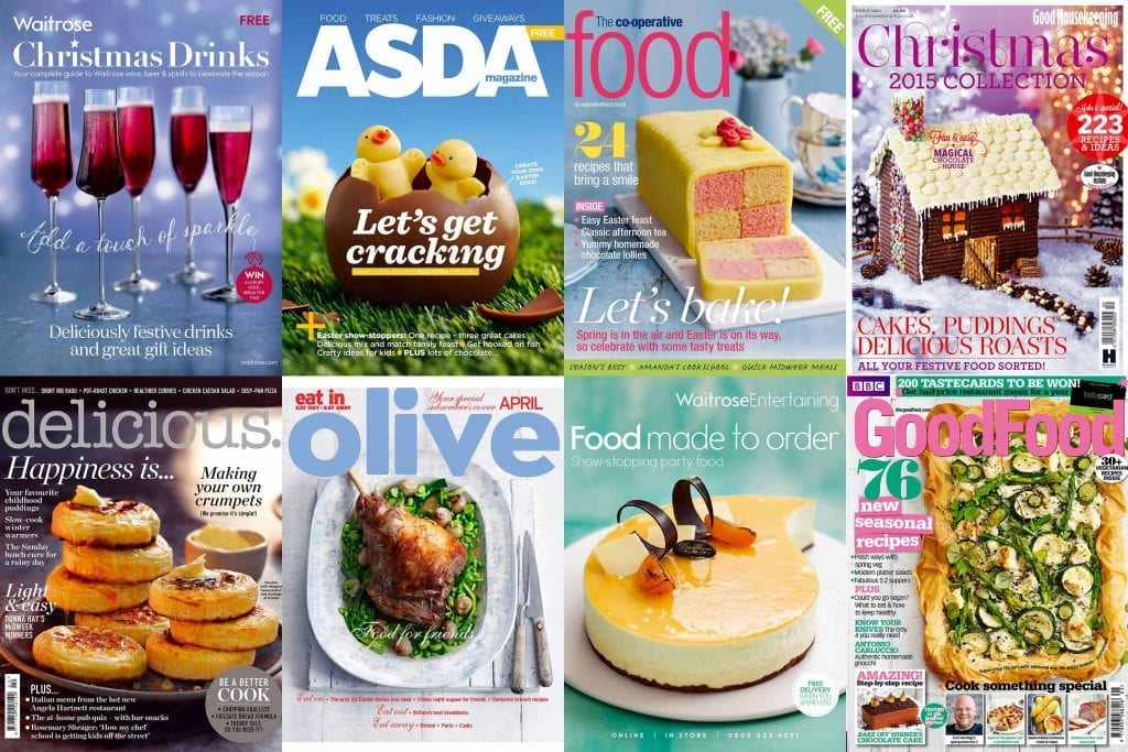 Collage of covers for Waitrose, Asda, Co-op, Good Housekeeping, Delicious, Olive and BBC Good Food