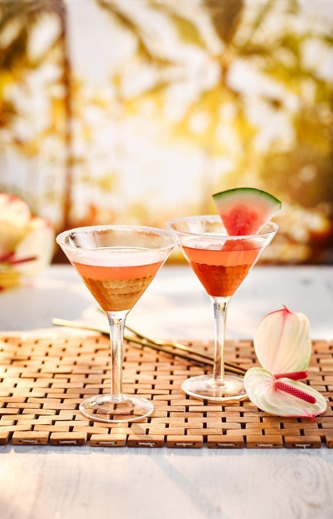 South East Asia themed drink of Watermelon Lemongrass Martini cocktail. Shot for Waitrose Summer Drinks.