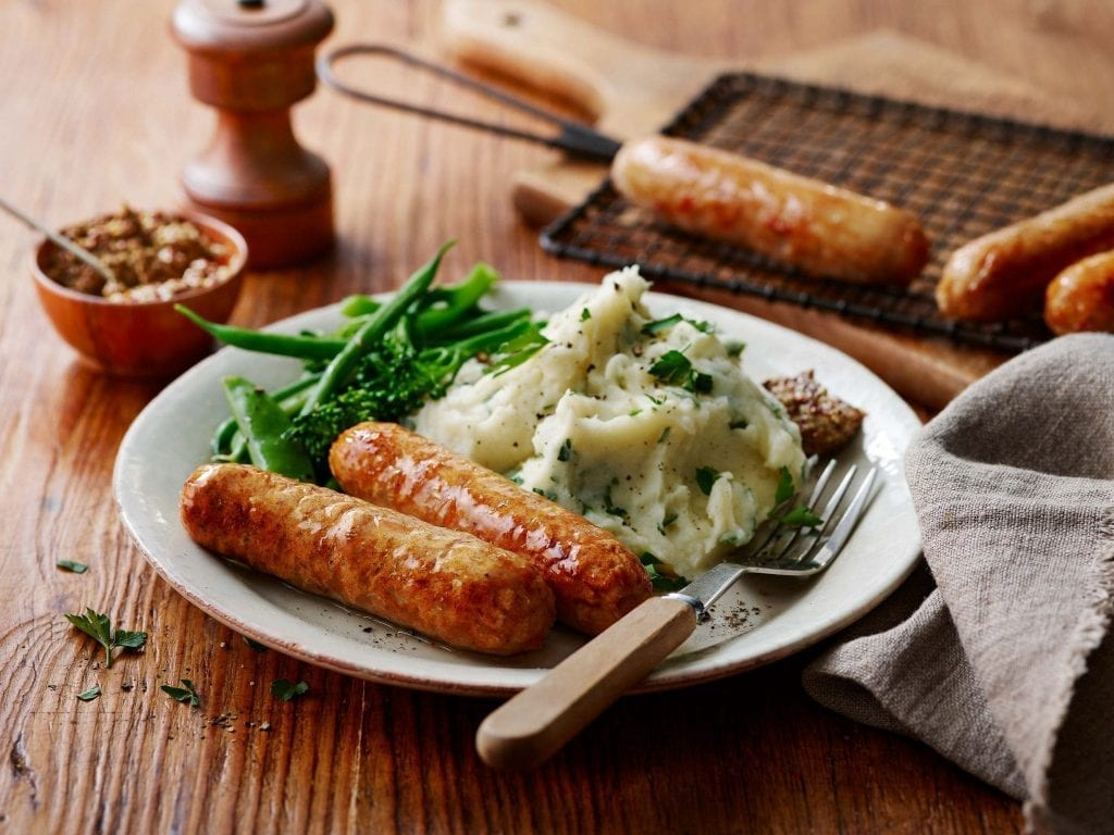 sausages mash green vegetables mustard