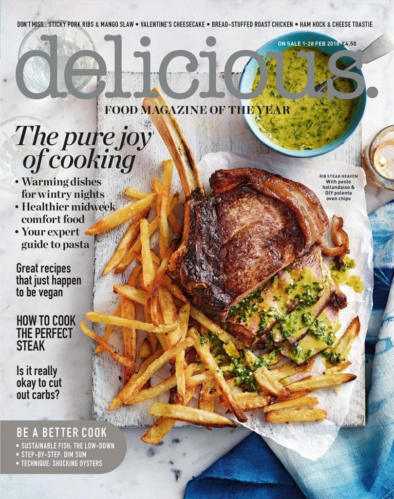 Rib steak with pesto, hollandaise polenta oven chips for the cover of Delicious Magazine