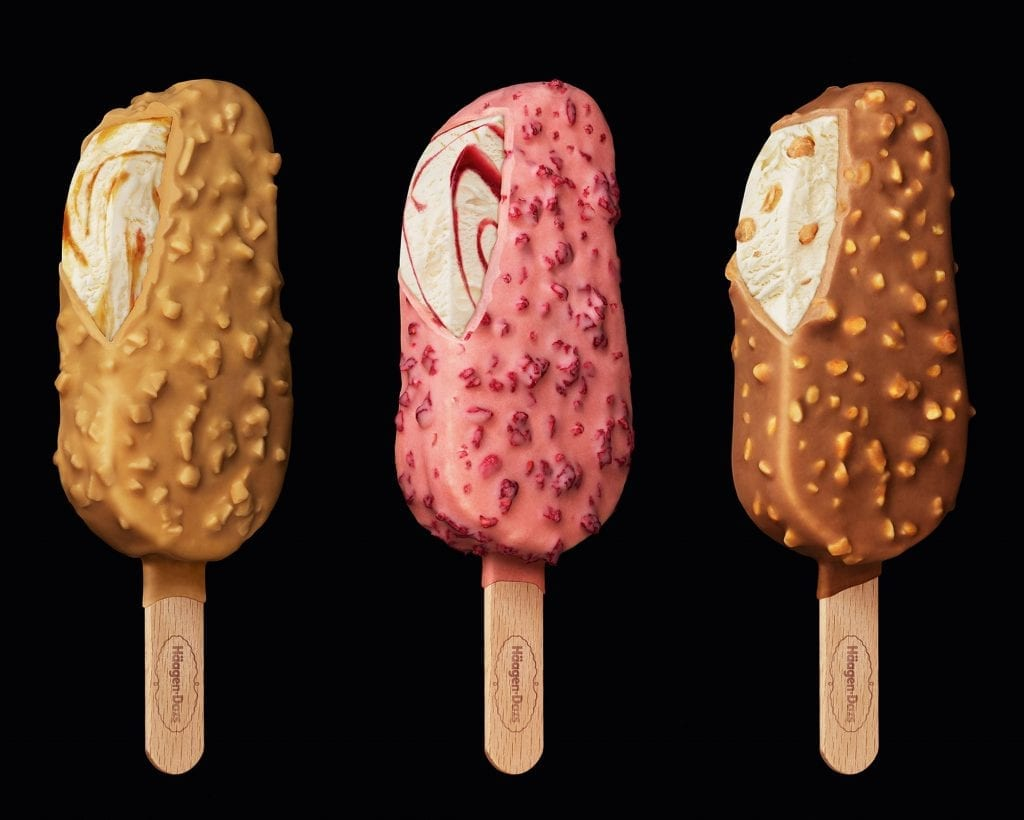 Haagen Dazs caramel, hazelnut and raspberry ice creams packaging shot.