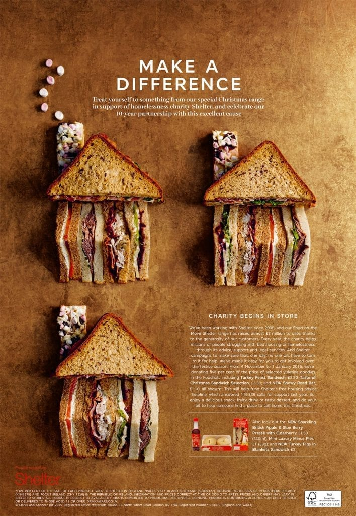 Sandwiches in the shape of houses for Marks and Spencer's Newspaper supporting Shelter charity