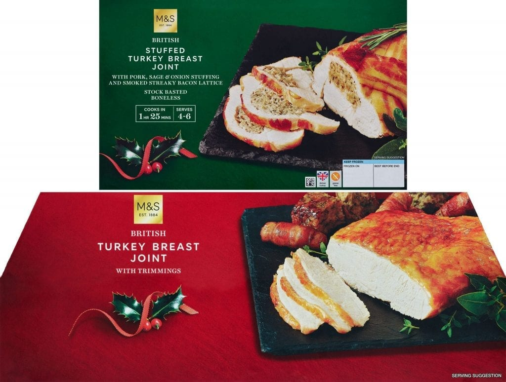 Turkey packaging shots for Marks and Spencer's Christmas frozen foods