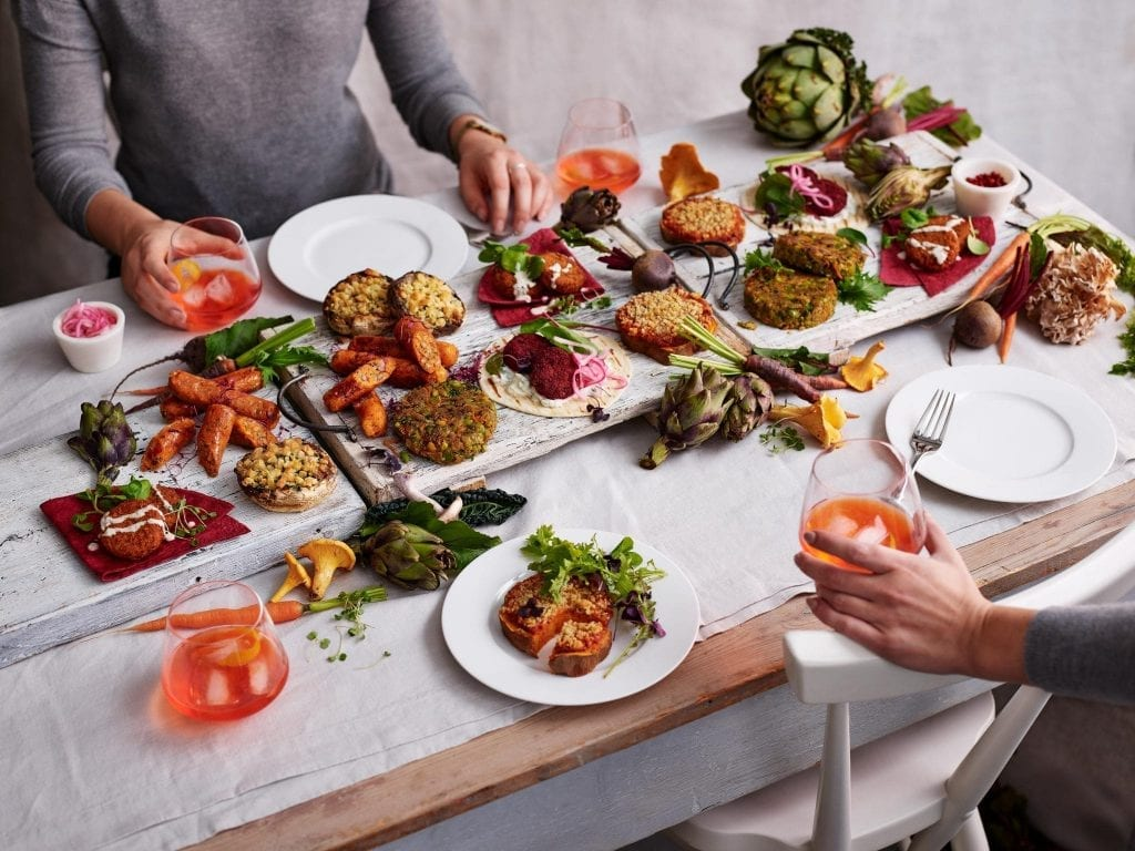 M&S Marks and Spencers vegetarian table
