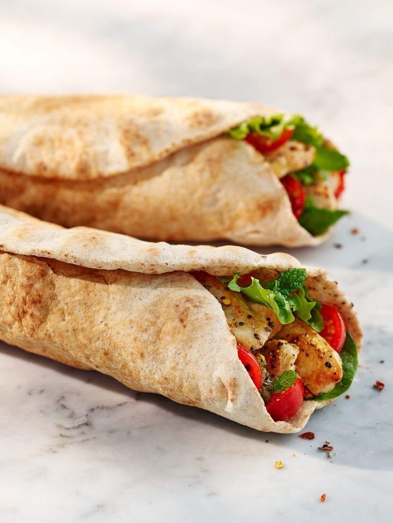 Mediterranean wraps with chicken salad