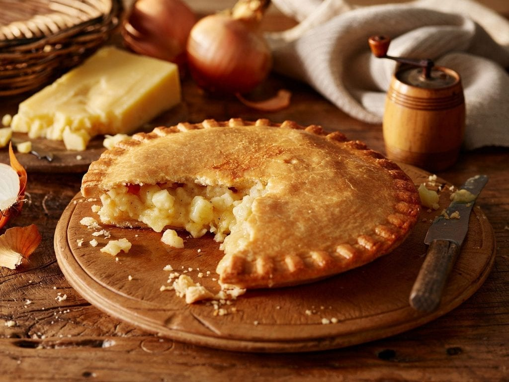 Cheese and onion shortcrust pastry pie