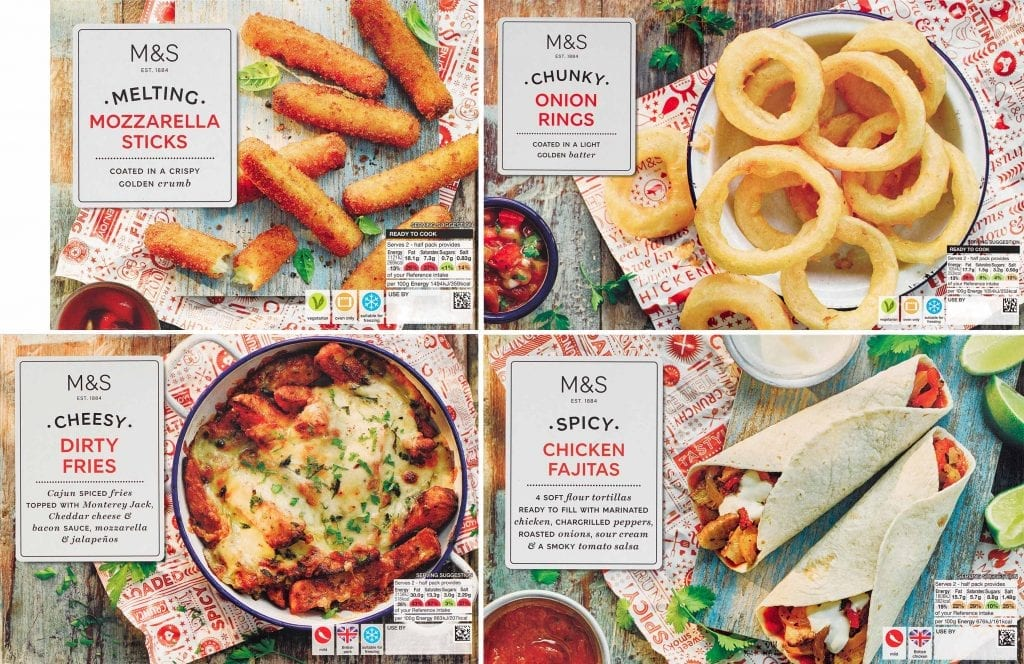 American Snacking range of mozzarella sticks, onion rings, dirty fries and chicken fajitas