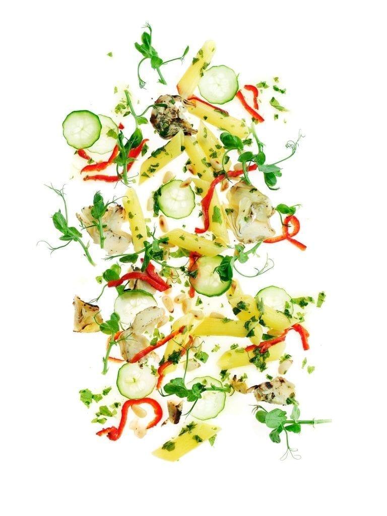 Exploding pesto pasta salad