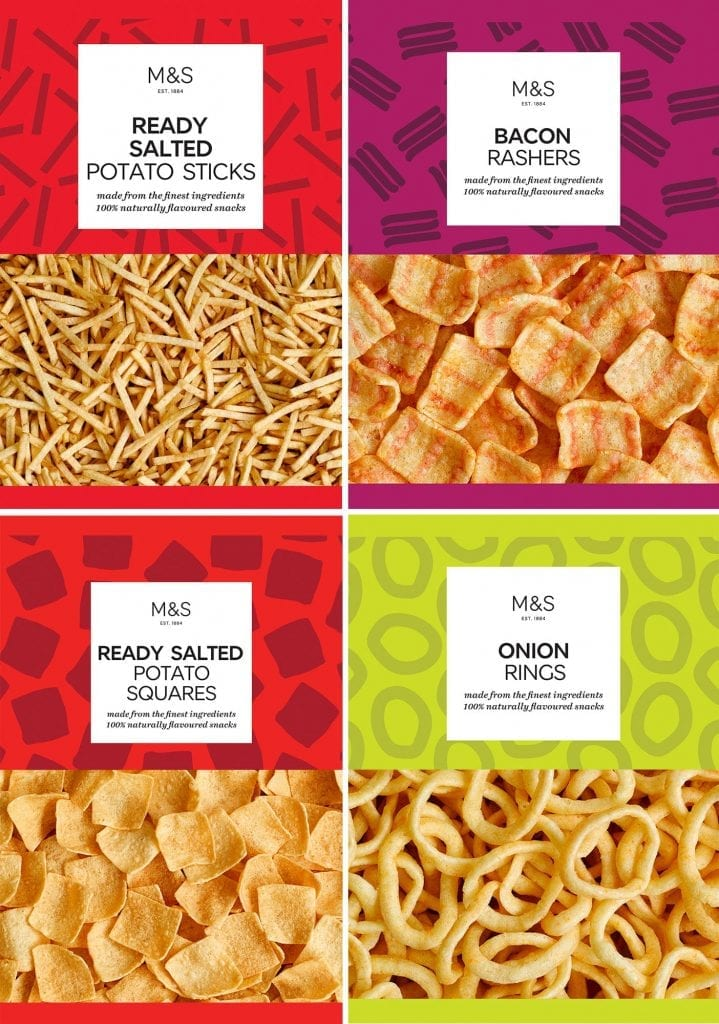 Potato sticks, bacon rasher, potato squares, onion rings packaging