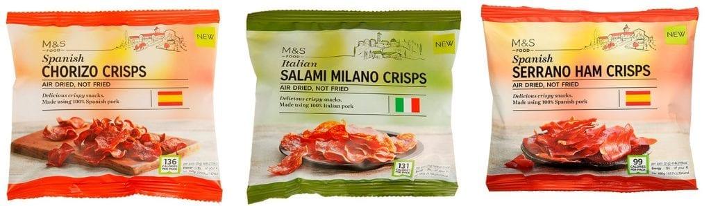 Serrano ham, Spanish chorizo & Italian salami crisps, packaging shot for Marks & Spencer snacking