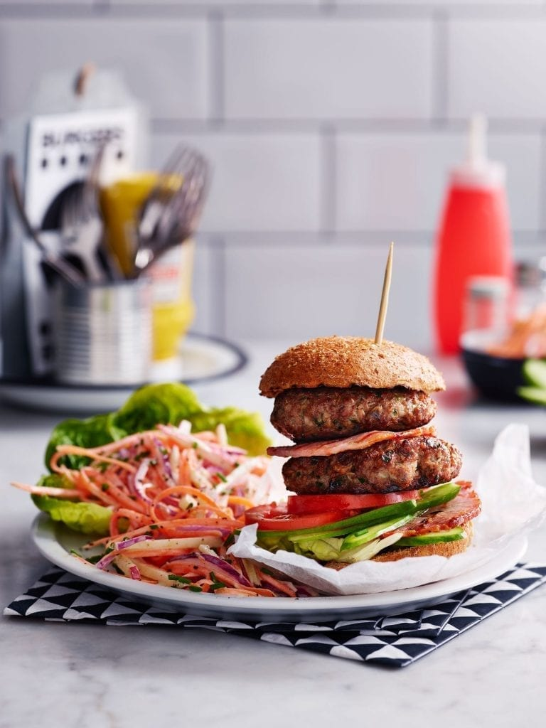 Slimming World burger served with an apple and carrot slaw