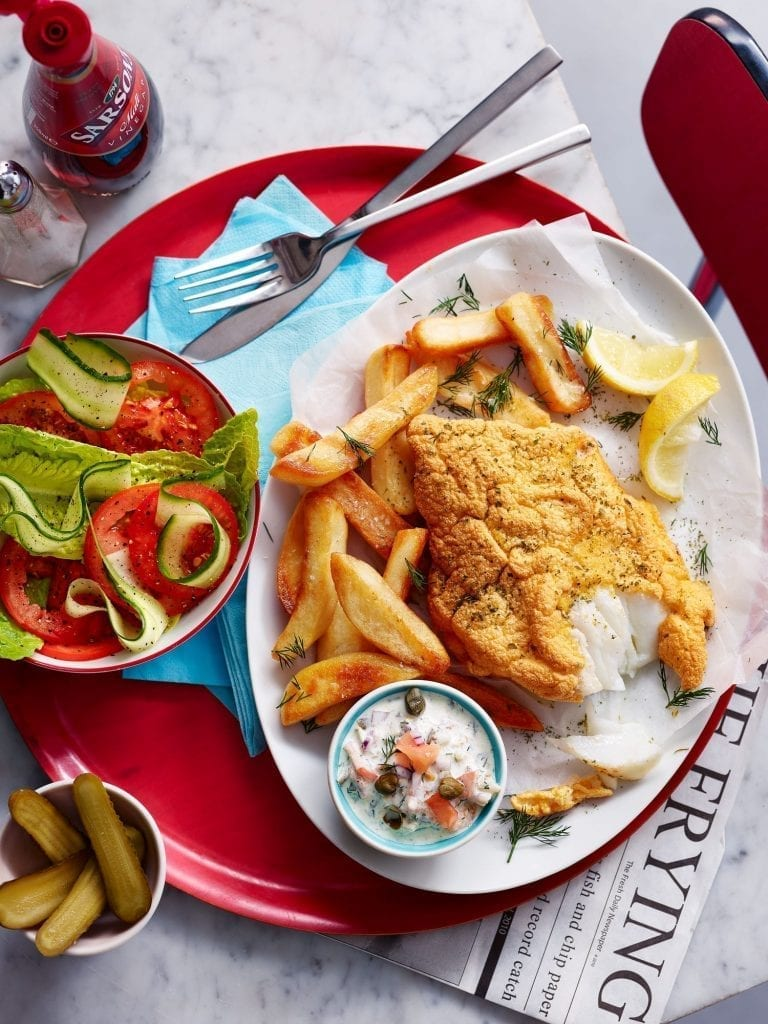 Cod Fillet and Courgette Chips served with Tartare Sauce