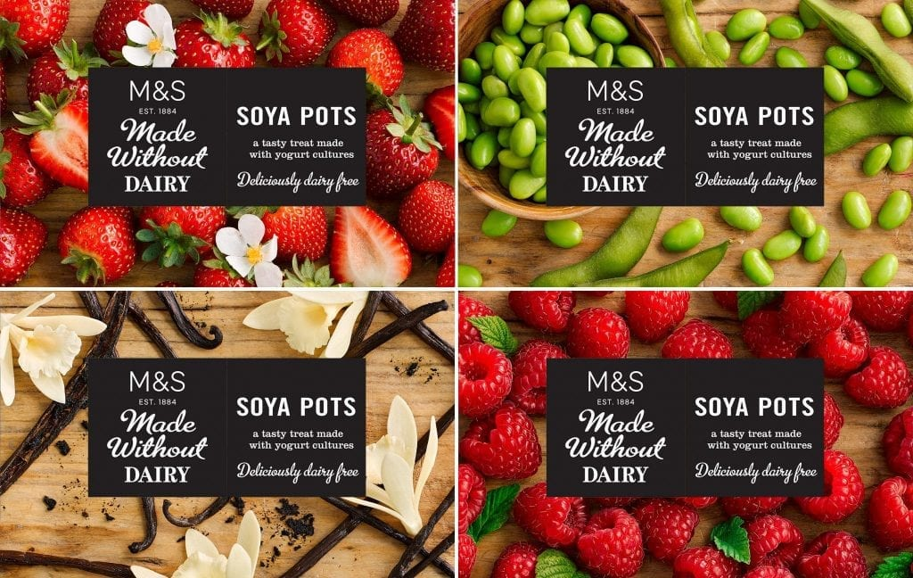 Strawberry, vanilla, raspberry and plain soya pots packaging