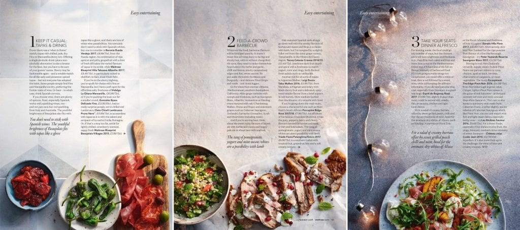 Shot for Waitrose Summer Drinks with a feature about easy entertaining. There are recipes for easy tapas, roasted lamb with yogurt, mint and pomegranate, Also a burrata salad with grilled peach, chilli and mint. The feature also has drinks suggestions to go with each meal.