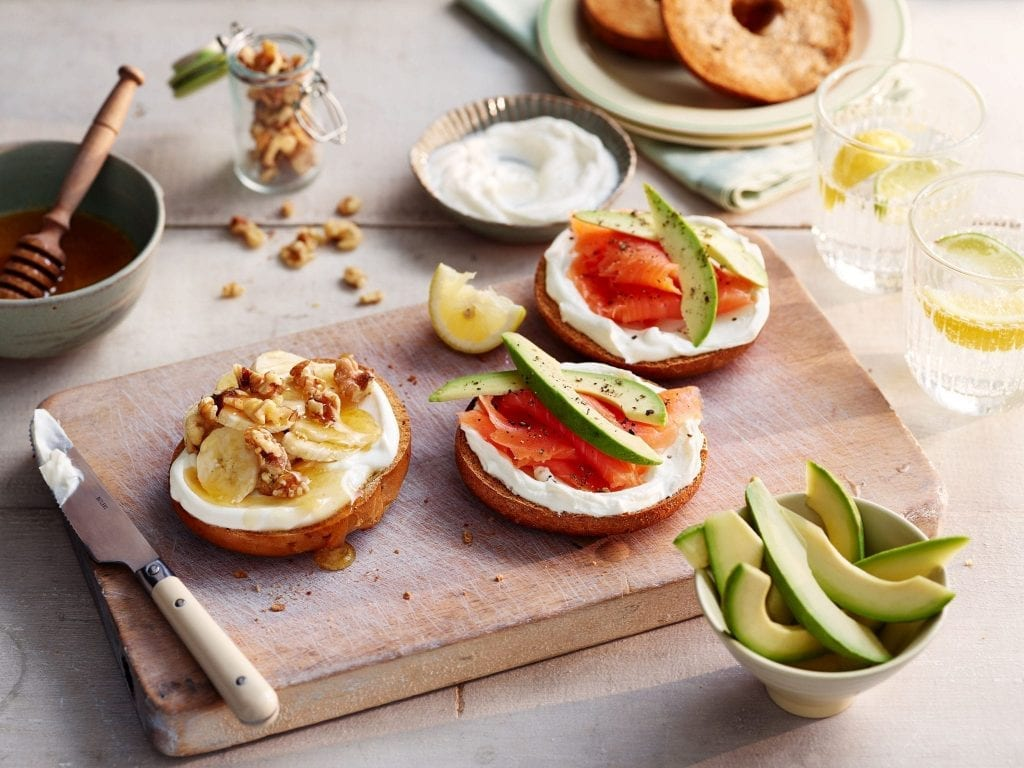 tesco smoked salmon avocado banana honey walnut bagels philadelphia