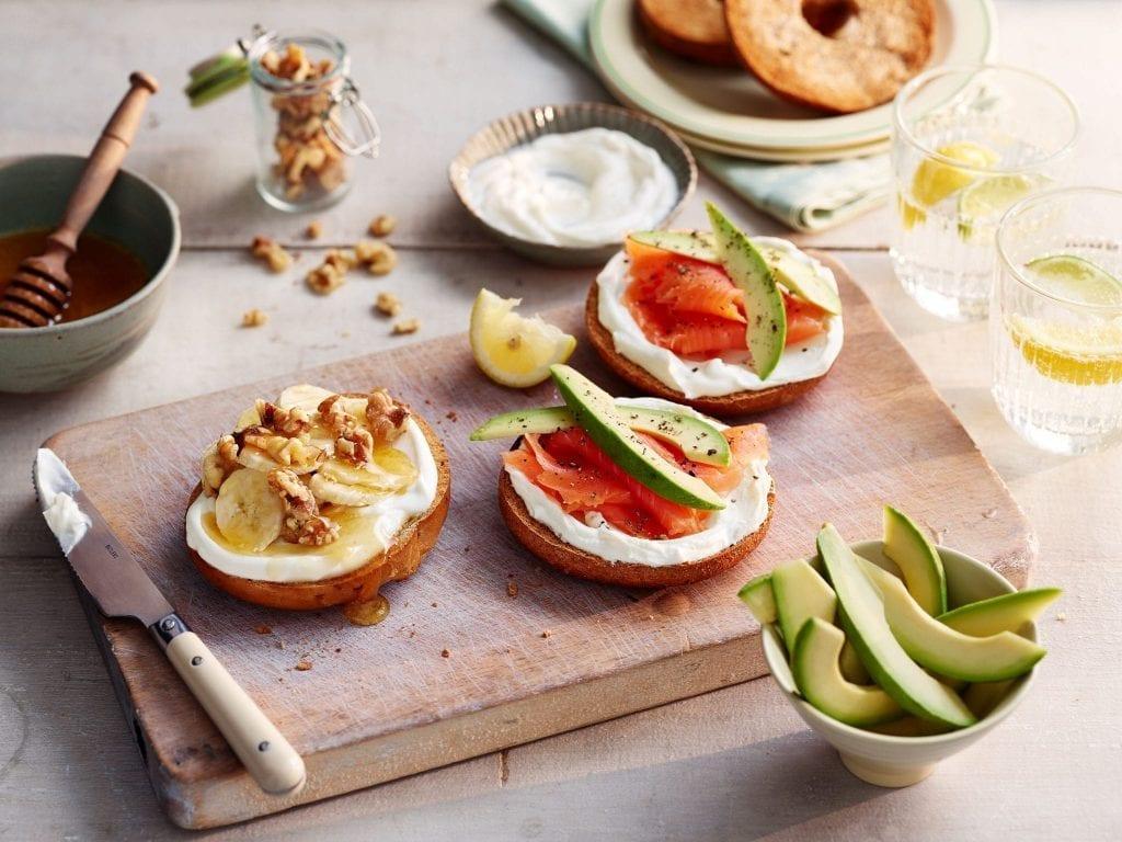 tesco smoked salmon avocado banana honey walnut bagels philadelphia