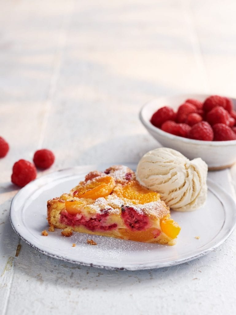 apricot raspberry clafoutis ice-cream raspberries