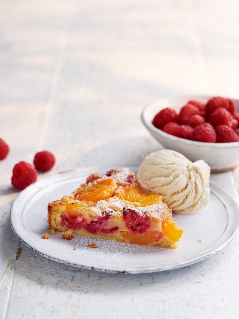 apricot raspberry clafoutis ice-cream raspberries