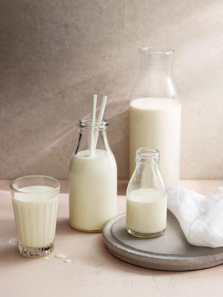 milk glasses bottles