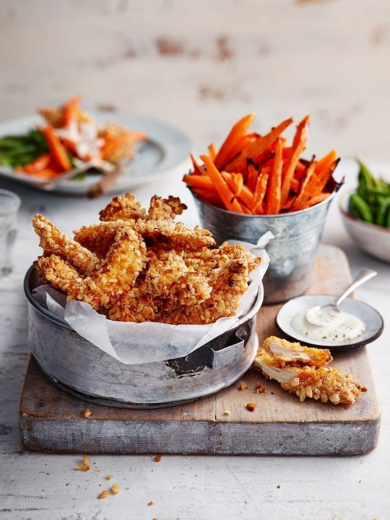 Crunchy Rice Snaps Coated Chicken Goujons with Carrot Fries