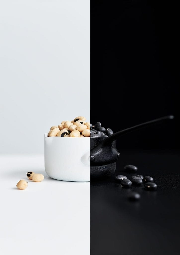 Black and white beans in a saucepan