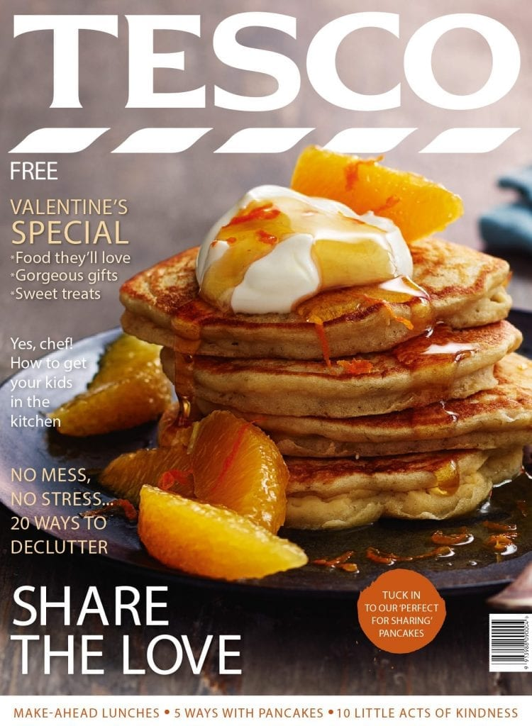 Cover for Tesco Magazine of Pancakes