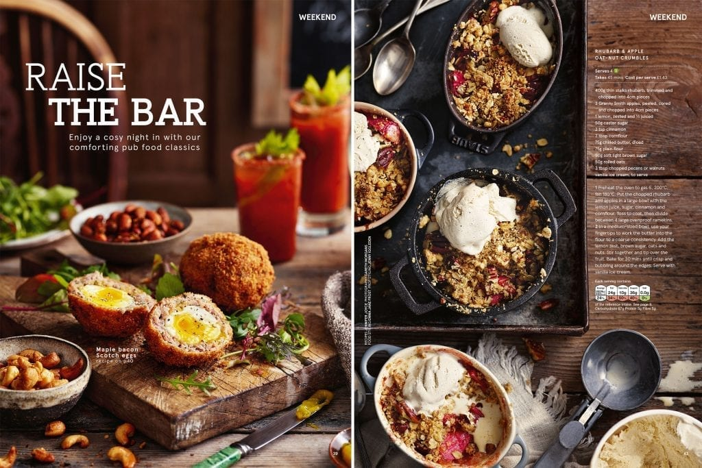 Raise the bar feature showing pub food that can be made at home. Scotch eggs with a Bloody Mary with a crumble served with ice cream shot for Tesco Magazine.