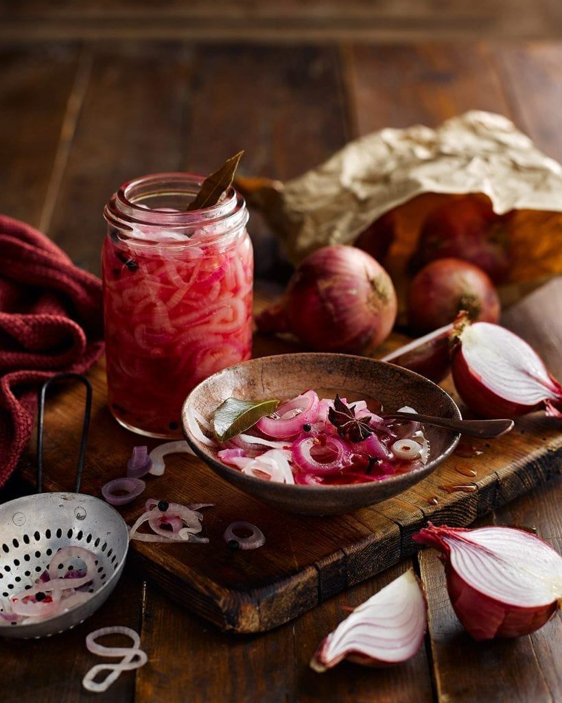 Pink Pickled Onions with the ingredients that were used to make the pickle. The image was for Tesco Magazine for their In Season feature.