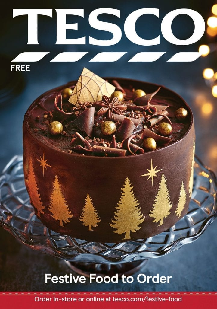 tesco christmas cover chocolate cake