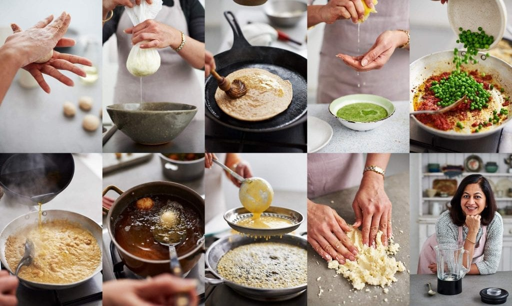 Collage of cooking preparation