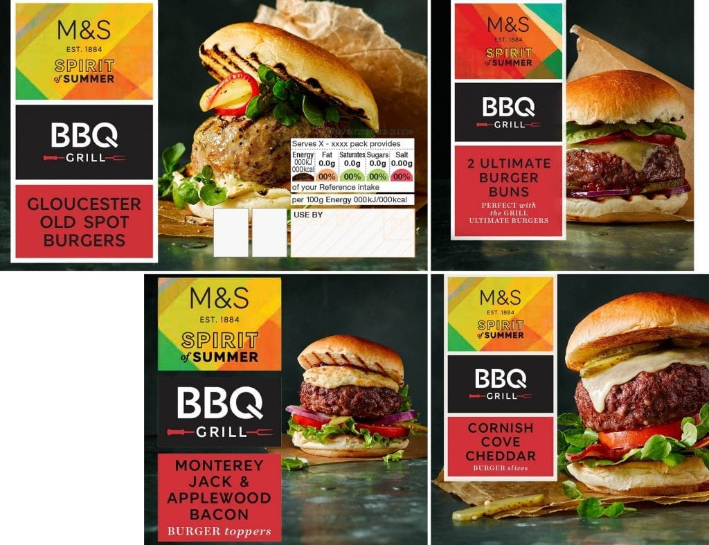 Burger and cheese packaging shots