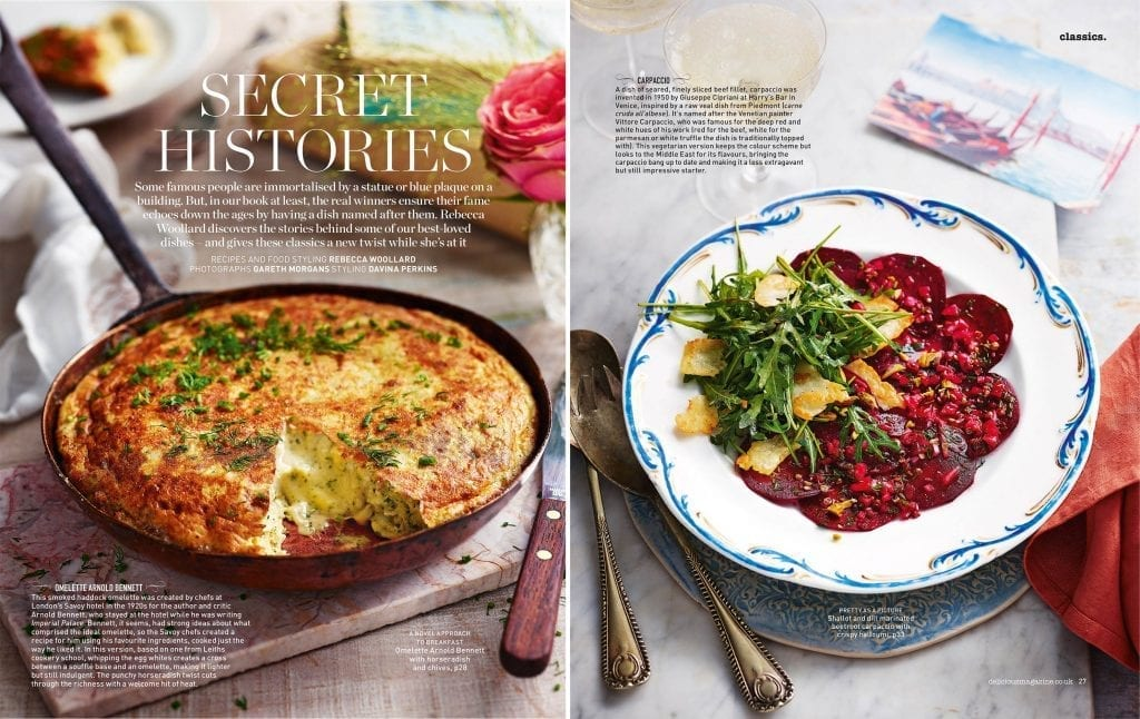 Delicious Magazine has researched stories of well-loved dishes then created new recipes with inspiration from the classics! Secret Histories Omelette Arnold Bennett and Carpaccio.